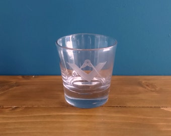 Antique Masonic Small Glass Tumbler c1800