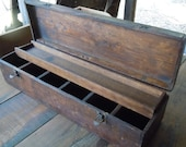 """On HOLD FOR HTN366 ...Antique Primitive Handmade Wooden Toolbox 24"""" x 7"""" x 6"""""""