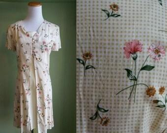 1990's Lelaina Dress - 90s Dress - Grunge - Yellow Floral Dress - Small S Size 4 - Vintage Dress - Vintage 90s Revival Dress