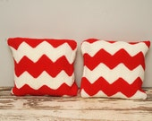 PAIR Vintage Crocheted Pillow Covers Red Zig Zag