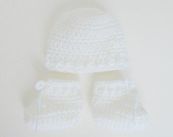 Micro Preemie White Baby  Booties And Hat Set NICU Very Small Newborn Premature Infant Angel Boy Or Girl Cap And Slippers Ready To Ship
