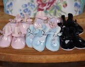"""Vintage Doll Shoes 7 Pairs 3 1/2"""" x 1 5/8"""" Pink/Blue/Black Patent Leather"""