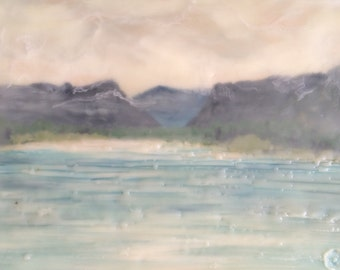 sunday's view  - 6x8 - original encaustic painting peaceful, impressionist, landscape, clouds, mountains, lake