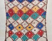 "HARBOR PARTY 6'6"" x 4'7"" Boucherouite Rug. Tapis Moroccan. Teppich Berber. Mid Century Modern Danish Design Compliment. ZA16-18"