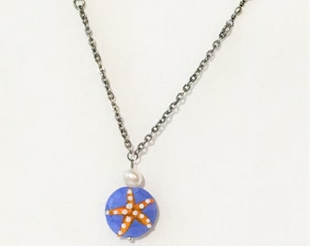 Starfish Necklace, Summer pendant, Gift Under 25, Beach Lover Surfer Girl Birthday Present