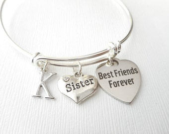 Sister, Best Friends Forever- Initial Bangle/ long distance, gift idea, miles apart, lil sis, Wedding gift, Bff, sisters, birthday gift