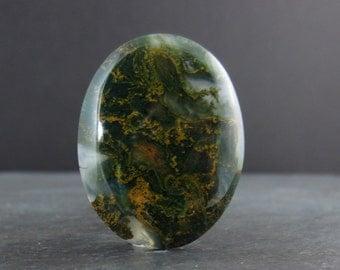 Beautiful oval stone cabochon, Natural stone, Moss Agate, Jewelry making Supplies B5837