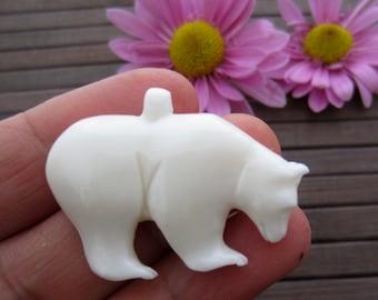 Beautiful carved Bear Pendant , Buffalo bone carving, Jewelry making Supplies B5890