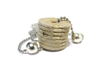 Aged Barrel, Large Rare Crinoid, Crinoid Fossil Necklace, Silver Beads, Crinoid, Tennessee Riverbanks, 24 In Ball Chain, or 22/18/16 inch
