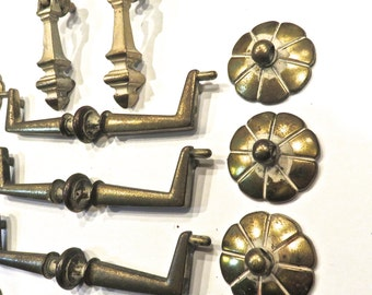 Vintage KBC 16pc. Brass Drawer Pulls and Toggle Pulls, Reclaimed Hardware