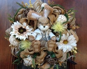 Charming Easter Bunny Burlap and Mesh Wreath