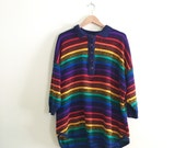 Vintage Oversized Rainbow Striped Sweater //  80s Sweater // Novelty Print // Black & Multi Color Hipster Jumper // Boyfriend Sweater