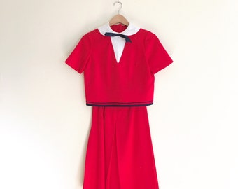 Vintage Red Peter Pan Collar Dress Suit // Cropped Top and Skirt Set // Bow Collar // Retro Mod 2 Piece Set  - 1960s