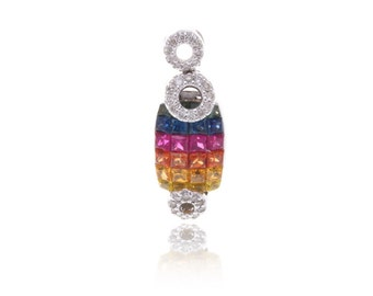 Multicolor Rainbow Sapphire & Diamond Pendant 18K Gold (2.66ct tw) SKU: 1407