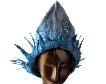 Felted Hat with Pointy Fringed Halo like Statue of Liberty or Blue Wizard - Russian Style Ice Queen - Kokoshnik