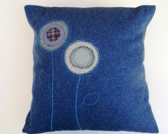 Royal Blue Wool Appliqued Flower Pillow