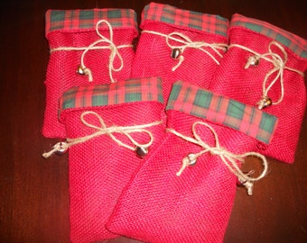 CHRISTMAS BURLAP FABRIC Lined Gift Favor Bags....