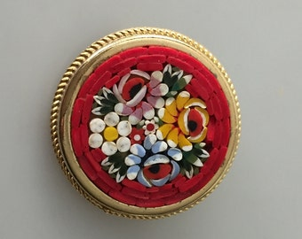 Vintage Italian MOSAIC Brooch Mosaic Pin Gold Plated Metal 1950s Vintage Pin Red Background
