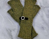 Fingerless Gloves Mitts Green Tea and Black Velvet with silver accent