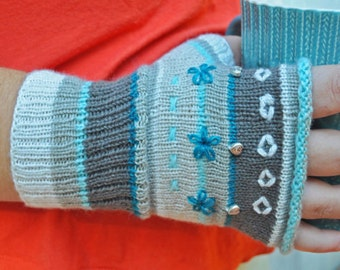 Fingerless Gloves Mitts DIY PDF Pattern Download - Rolled Edge Winter Ice colors