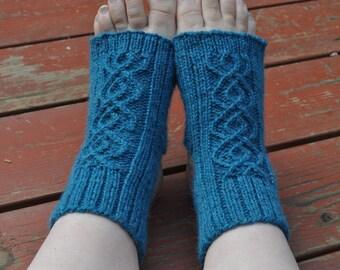 Yoga socks, knitting pattern - Breathe - Double Cable Yoga Socks knitting pattern instant download