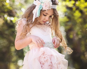 Silk Headband Mint and Pink baby girl headband rolked silk Pink Dupioni Silk Hand Rolled Rosette Headband with Curly Feathers, Lace