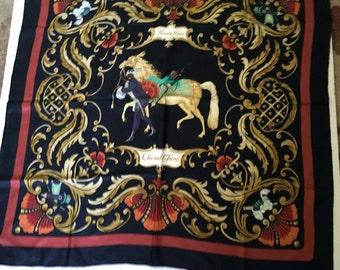 Vintage Hermes scarf Cheval Turc red and black