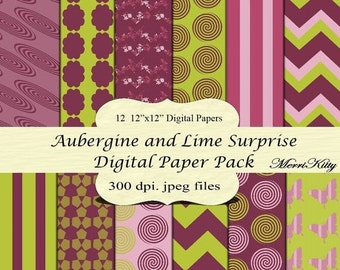"""ON SALE 65% OFF Instant Download - Digital Scrapbook Paper Pack - Aubergine and Lime Surprise - No.31- 12 12""""x12"""" Digital Papers - Card Maki"""