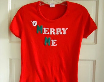 Vintage 70s/80s CHRISTMAS T Shirt French Cut sz S