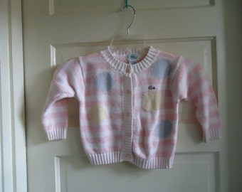 Vintage 80s Childrens IZOD LACOSTE Striped Pastel Cardigan Sweater sz 2T