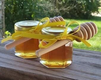 Wedding Favors 12 Raw Wildflower Honey 2oz Jars Raw Honey Medicinal Tennessee Wildflower Wood Dippers Honey Gift
