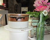 Small Salt Glaze Ceramic Crock or Bowl in Brown and Beige