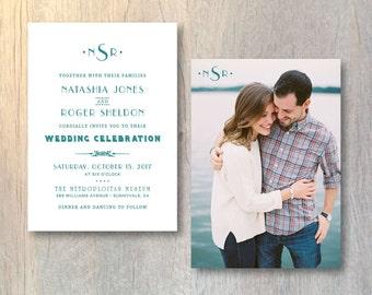 Modern Wedding Invitation Card - Photo Wedding Invitation - Modern Monogram Invitation - Printable DIY