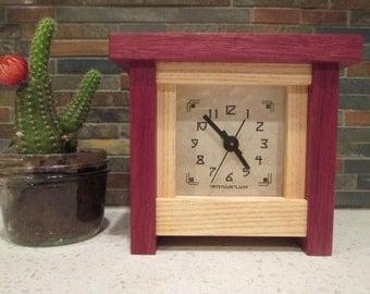 Bungalow Clock, Cottage Clock, Arts and Crafts Clock, Craftsman Clock, Purple Heart, Ash, Mantel Clock