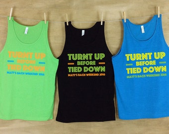 Turnt Up Before Tied Down Bachelor Beach Tank Sets // Bachelorette party shirts neon // Personalized Bachelor Tanks - AH