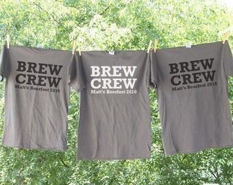 Brew Crew Beer Bachelor Party Shirt with Customized Name and Date Sets - AH