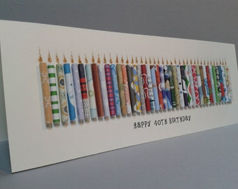 Large 40th Birthday Candle Card, Can be Personalised with a name, Can be customised to 41,42,43,44,45,46,47,48,49.