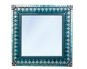 Mosaic Wall Mirror, Teal Mirror, Square Decorative Mirror