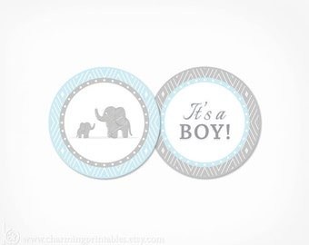 Cupcake Toppers Blue Elephant Baby Shower Boy - PRINTABLE Instant Download - Blue and Grey Its a Boy Circle Tag Decorations