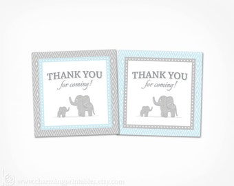 Blue Elephant Baby Shower Boy Favor Tags - Printable Thank You Tags Stickers - Instant Download Blue and Grey Baby Shower