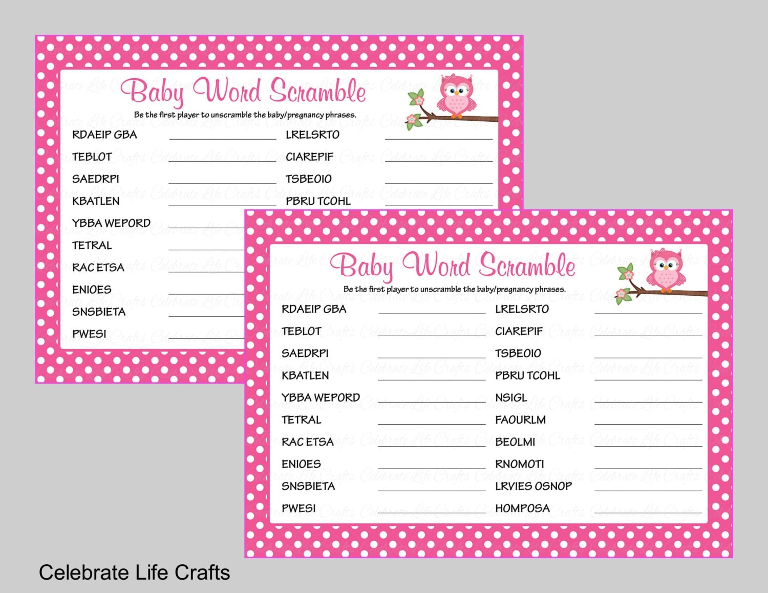 Divine image for baby shower word scramble printable
