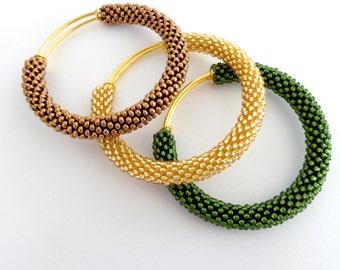 Bronze Adjustable Bangles/Brass Bangle Bracelets/Green Shades/Bangle Bracelets Set/Beaded Accessories/Crocheted bracelets/Bangles Tris