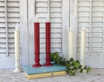 Red & White Candeliers - Flameless Candles - Set of 5 Battery Operated Candlesticks