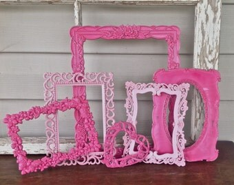 Shades of Pink Open Picture Frames - Pink Ornate Wall Decor - Set of 6 Empty Metal Wall Frames - Cottage Chic Wall Frames