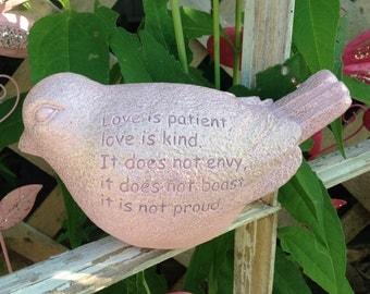 Love Is Patient Bird - Scripture Bird - 1 Corinthians 4:7 - Soft Pink Bird - Indoor/Outdoor