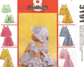 Baby and Toddler Girl's Ruffled Top, Dress and Panties or Diaper Cover and Hat McCall's 3191 Size Sm - Xxl