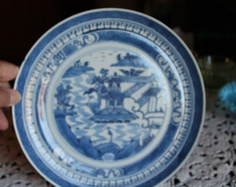 Canton Blue and White 9 1/2 Plate