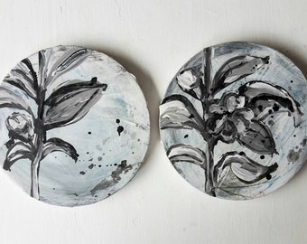 Camilias in Gray on A Round Canvas x 2