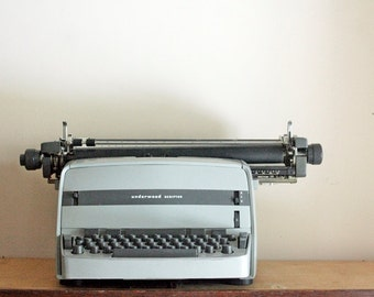 Vintage 1960s Typewriter - Electric Underwood Scriptor, Working Condition, Grey Home Decor, For Writers , Midcentury Modern Home Decor
