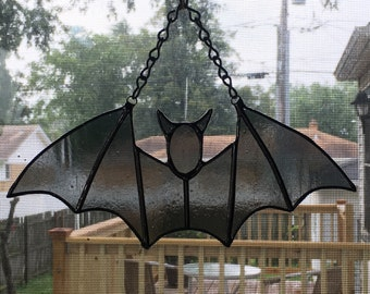 Stained Glass Halloween Bat Suncatcher